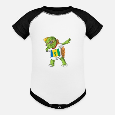 Saint Vincent And The Grenadines Saint Vincent and the Grenadines Dabbing Turtle - Baseball Baby Bodysuit