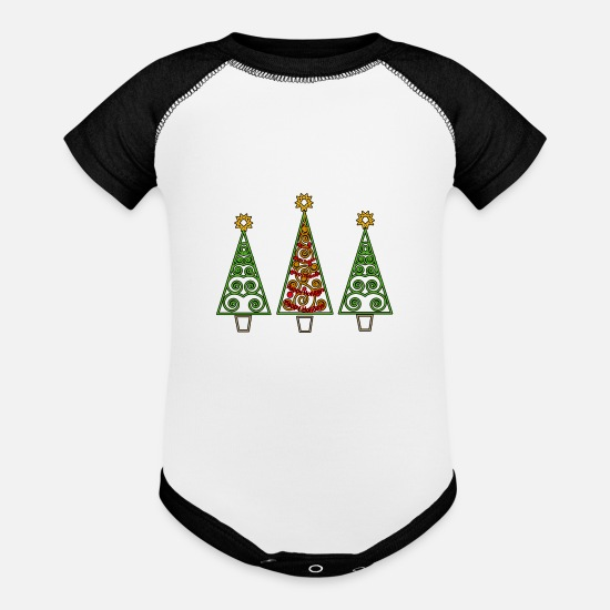 Christmas Tree Baby Clothing - Happy Holidays - Baseball Baby Bodysuit white/black
