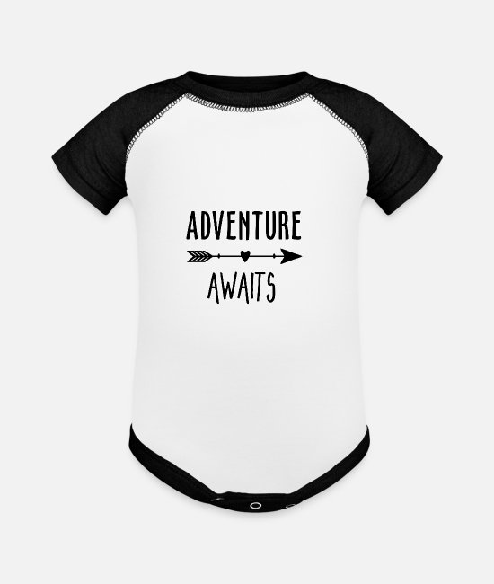 Travel Baby One Pieces - ADVENTURE AWAITS - Baseball Baby Bodysuit white/black
