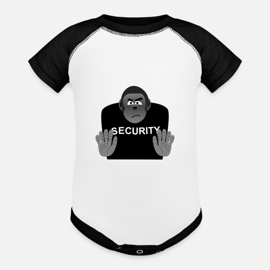 Gorilla Baby Clothing - security - Baseball Baby Bodysuit white/black