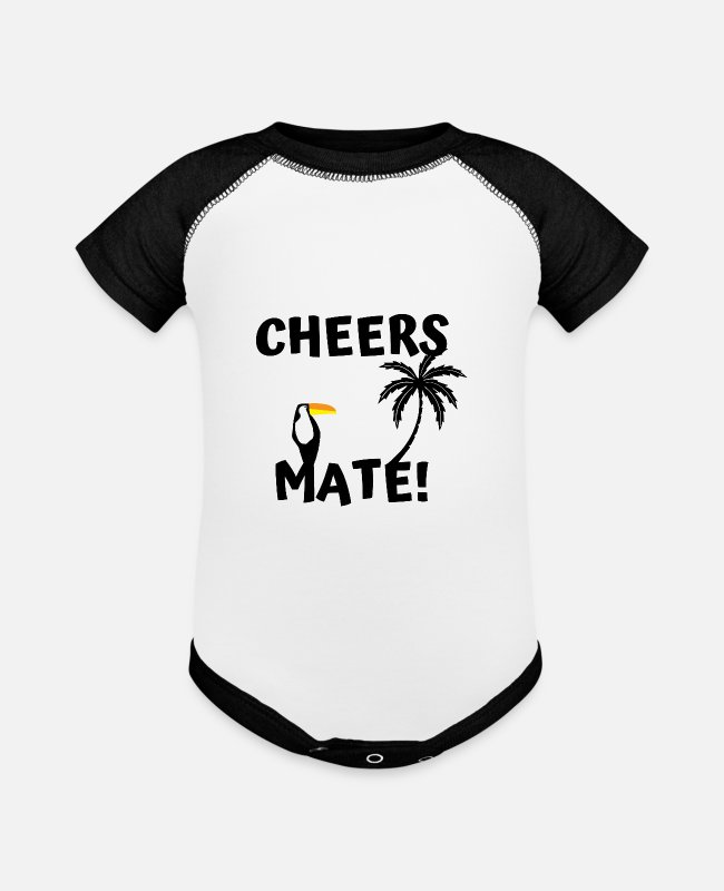Mate Baby One Pieces - cheers mate! toucan - Baseball Baby Bodysuit white/black