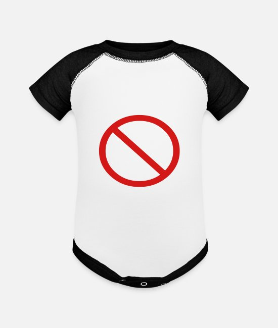 Funny Hilarious Comic Ban Prohibition Signs For Baby One Pieces - No Ban Sign Vector Prohibition Sign - Baseball Baby Bodysuit white/black