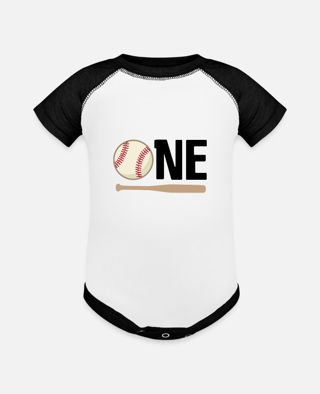 Ball Baby One Pieces - 1st Birthday Baseball One Year Old - Baseball Baby Bodysuit white/black