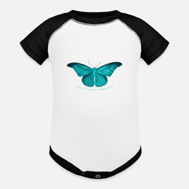 Allergy Awareness Food Allergy Awareness - Teal Butterfly - - Baseball Baby Bodysuit