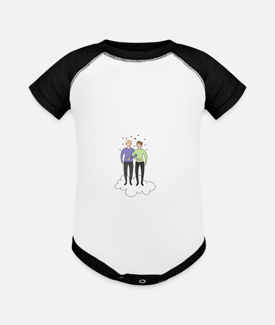 Gay Pride Baby One Pieces - gay couple Cloud Romantic LGBT Marriage - Baseball Baby Bodysuit white/black