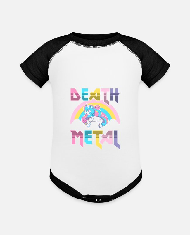 Cute Baby One Pieces - Death Metal - Baseball Baby Bodysuit white/black