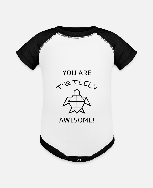Origami Baby One Pieces - Funny and sweet turle Pun T-shirt design - Baseball Baby Bodysuit white/black
