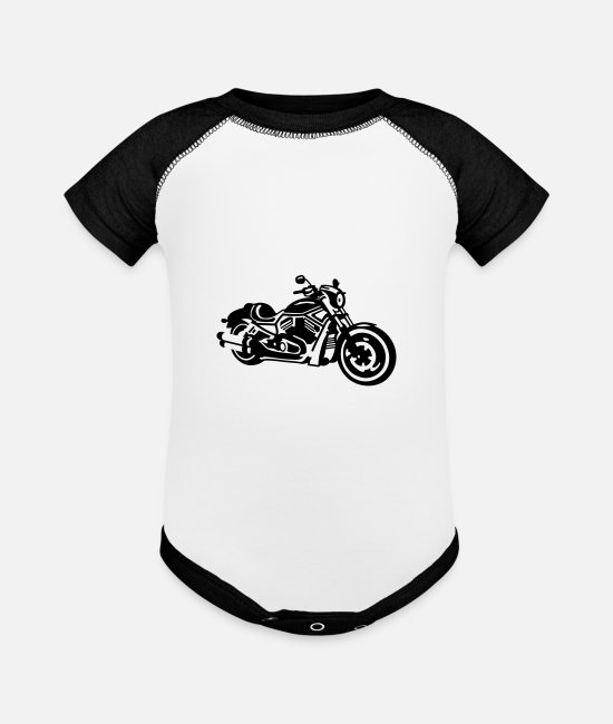 Motorcycle Baby One Pieces - chopper - Baseball Baby Bodysuit white/black