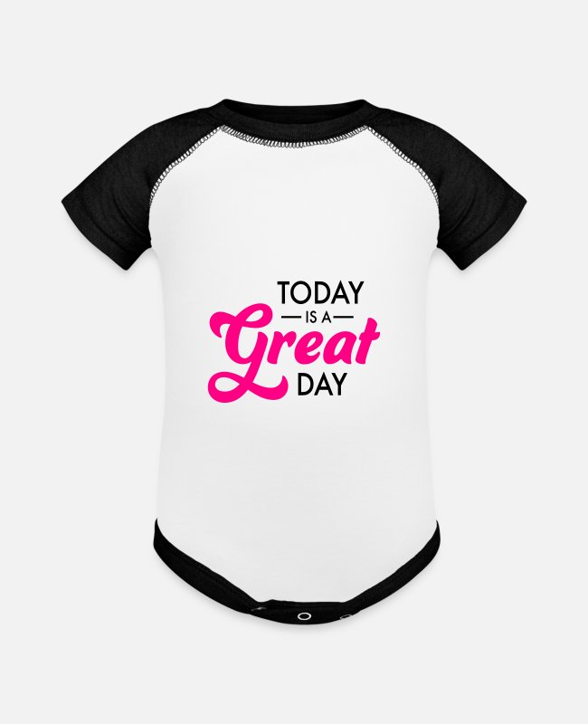 Great Baby One Pieces - great day - Baseball Baby Bodysuit white/black