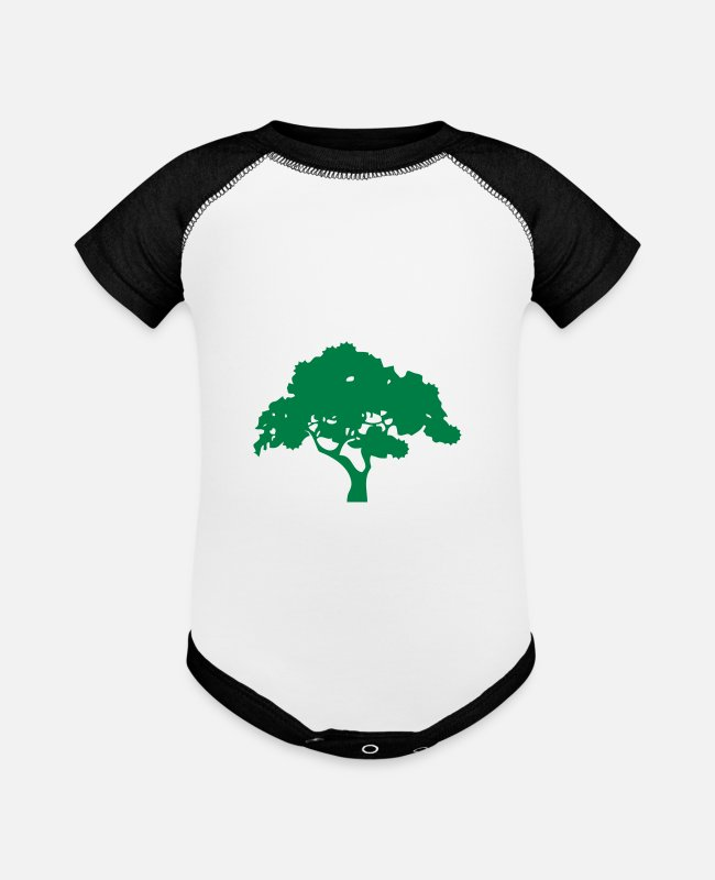 Leaves Baby One Pieces - tree - Baseball Baby Bodysuit white/black