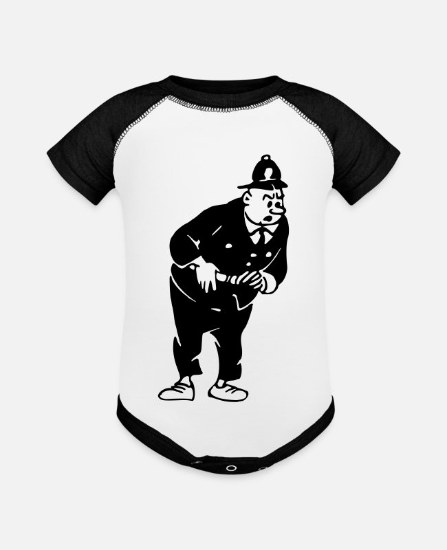 Office Baby One Pieces - Stern policeman - Baseball Baby Bodysuit white/black