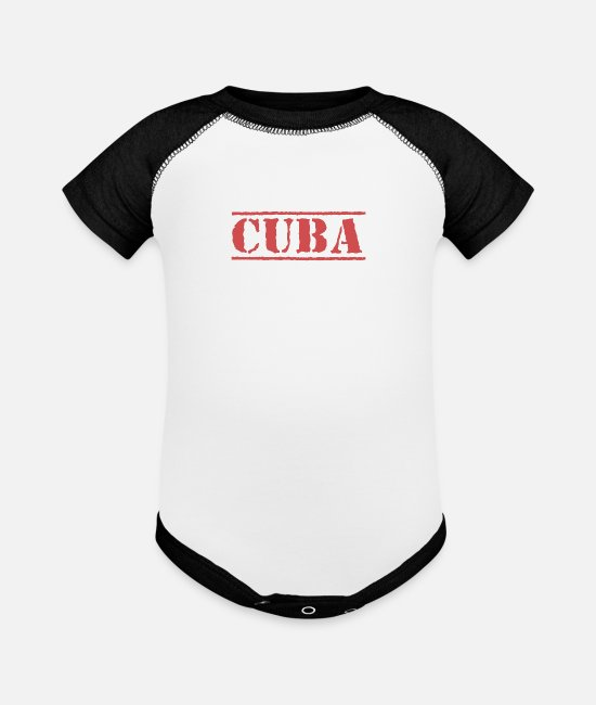 Cuba Baby Clothing - Republic of Cuba Cuban Patriot Caribbean Island - Baseball Baby Bodysuit white/black