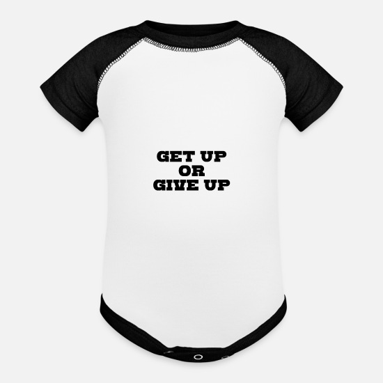 Hustle Baby Clothing - GET UP OR GIVE IT - Baseball Baby Bodysuit white/black