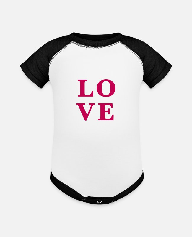 Heart Baby One Pieces - Love Lettering - Baseball Baby Bodysuit white/black