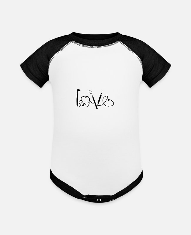 Toothpaste Baby One Pieces - Dentist Doctor Dental Love Tooth Equipment Gift - Baseball Baby Bodysuit white/black