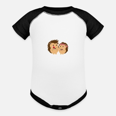 Funny Happy New Years Hedgehogs in love Couples Valentine's Day Gift - Baseball Baby Bodysuit