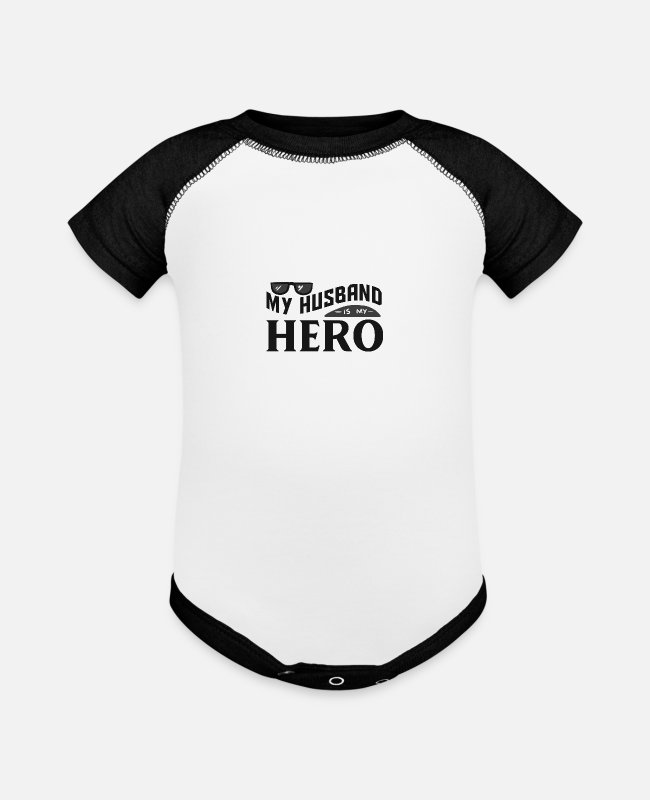 Cancer Survivor Baby One Pieces - My Husband Is My Hero - Baseball Baby Bodysuit white/black