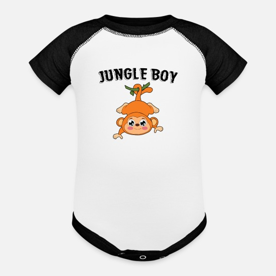 Gift Idea Baby Clothing - JUNGLE BOY Monkey - Baseball Baby Bodysuit white/black