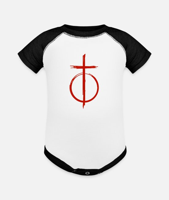 Usa Baby One Pieces - Blood Red Cross and Circle - Minimal Symbol - Baseball Baby Bodysuit white/black