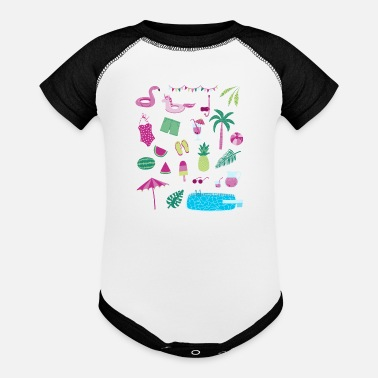 Flamingo Popsicle Swimming Pool Party - Baseball Baby Bodysuit