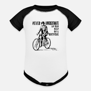 Two Guys NEVER UNDERESTIMATE AN OLD MAN ON A BICYCLE HUMOR - Baseball Baby Bodysuit