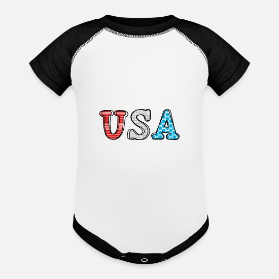 Red Baby Clothing - U.S.A. Shirt - Baseball Baby Bodysuit white/black