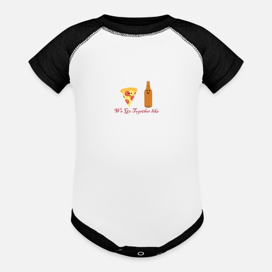 Gift Idea Baby Clothing - Pizza and Beer Best Friends Beer King Gift - Baseball Baby Bodysuit white/black