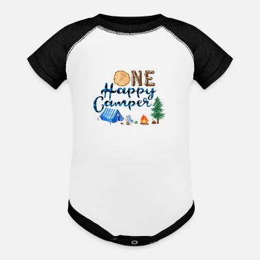 Lumberjack Party One Happy Camper,1st Birthday Shirt,Camp Party - Baseball Baby Bodysuit