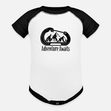 Adventure Awaits Rock Climbing Carabiner - Baseball Baby Bodysuit