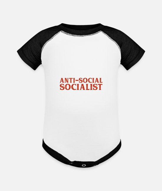 Overthinker Baby One Pieces - anti social socialist introver gift - Baseball Baby Bodysuit white/black