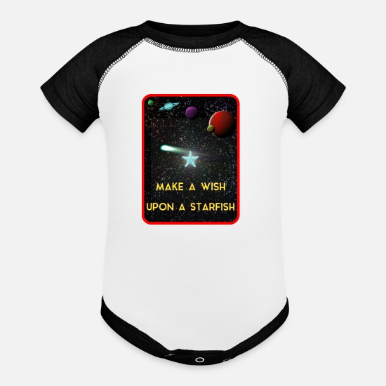 Beach Baby Clothing - MAKE A WISH UPON A STARFISH - Baseball Baby Bodysuit white/black
