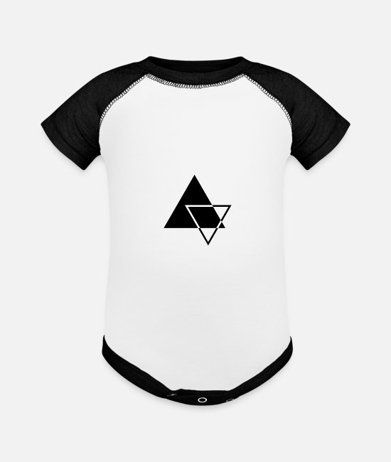 Hexagon Baby One Pieces - minimalistic geometric triangles - Baseball Baby Bodysuit white/black
