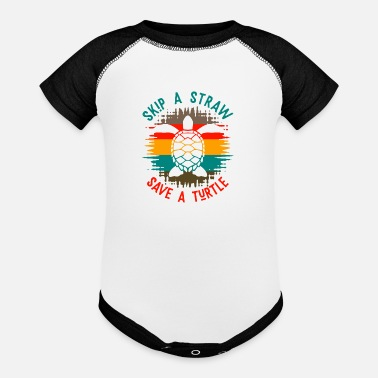Save Skip a straw Save a Turtle Cool Gift - Baseball Baby Bodysuit