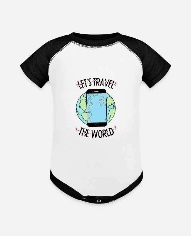 Travel The World Baby One Pieces - Let's travel the world - Baseball Baby Bodysuit white/black