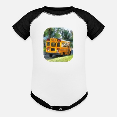 Bus Parked School Bus - Baseball Baby Bodysuit