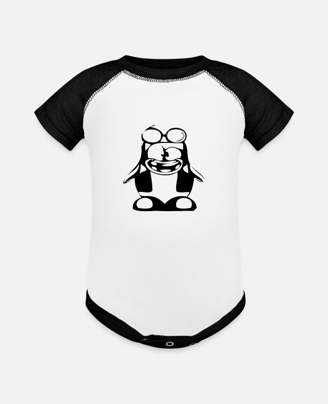 Red Baby One Pieces - Black penguin in nerd style - Baseball Baby Bodysuit white/black