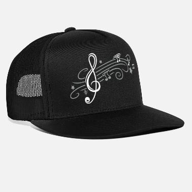 Note Music, clef with stars and music notes - Trucker Cap