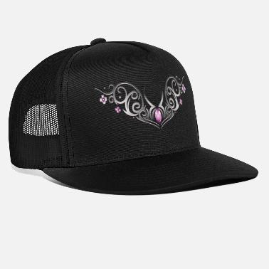 Cherry Blossom Tribal with cherry blossoms and gemstone - Trucker Cap