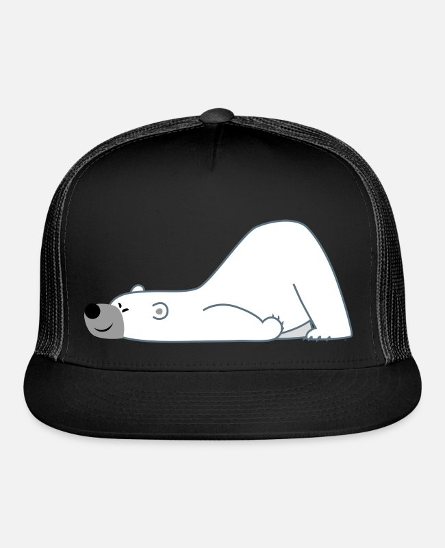 Polar Bear Caps & Hats - Cute Sliding Polar Bear by Cheerful Madness!! - Trucker Cap black/black