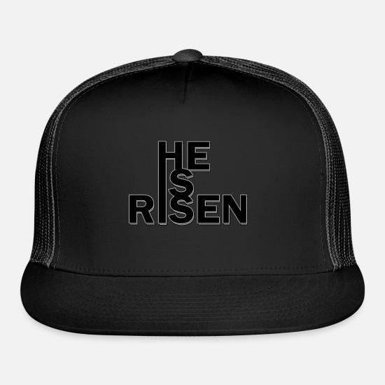 Easter Caps - HE IS RISEN Easter 2019 collection - Trucker Cap black/black