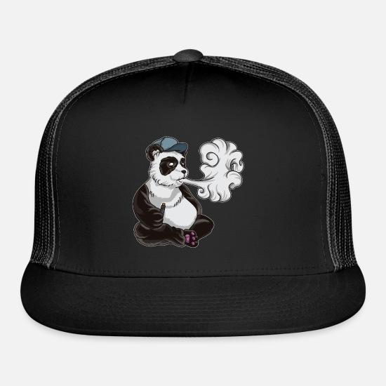 4c64342c Vape Caps - Vaping Panda Bear Illustration | Animal Vape - Trucker Cap  black/black. Customize