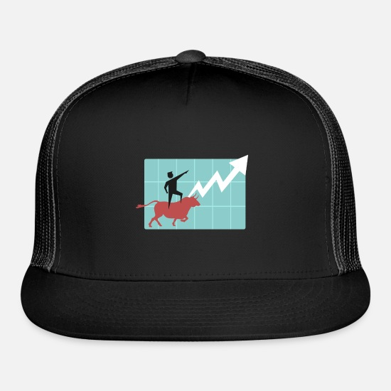 Stock Market Caps - Bull market bear market trading stock gift money - Trucker Cap black/black