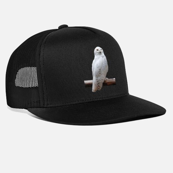 e0918628 White Caps - SPOTTED WHITE OWL - Trucker Cap black/black