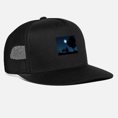 Man with Dog D20 Dice Moon Night Tabletop RPG - Trucker Cap