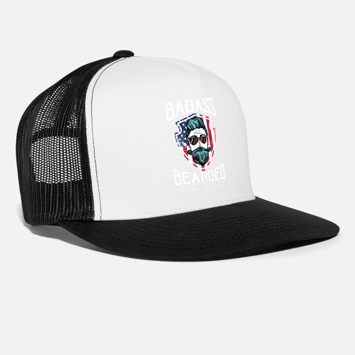cff14a64 Badass Bearded Man American Trucker Cap   Spreadshirt