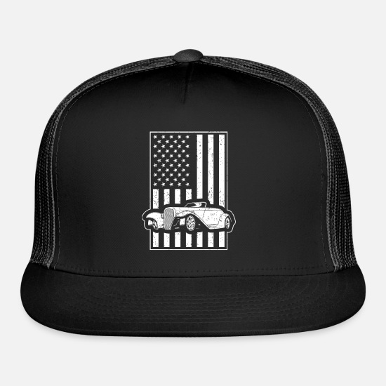 Vintage Car Hot Rod American Flag Trucker Cap | Spreadshirt