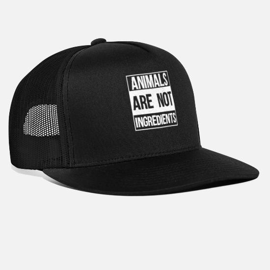 Animals Caps - Animals Are Not Ingredients Gift - Trucker Cap black/black