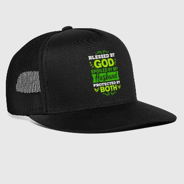 Hubby HUSBAND/FAITH Blessed By God Spoiled By My Husband - Trucker Cap