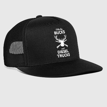 Rifle Big Bucks and Diesel Trucks Funny Hunting Gift - Trucker Cap