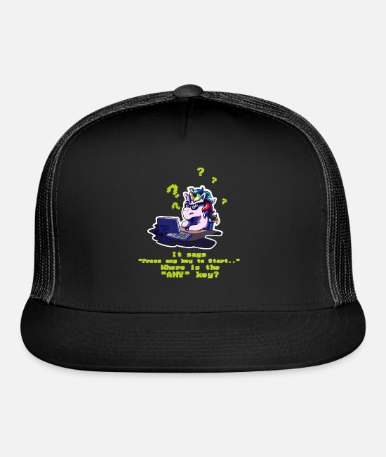 Computer Science Caps - Any key pun unicorn computer science - Trucker Cap black/black
